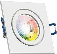 IP44 RGB LED Einbaustrahler Set GU10 in weiß mit