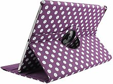 iPad 6 9,7 Zoll Case Air 2 Book Cover 9.7'', TechCode 360 Grad Rotation Ständer PU Leder Tasche Schutzhülle Folio Weiche Gummi Hülle für Apple iPad air 2 9,7 Zoll(iPad air 2, Lila)