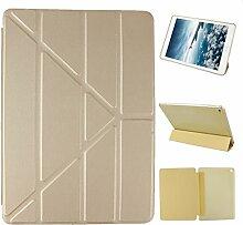 iPad Air 2 Hülle Smart Cover, Asnlove Hülle Schutzhülle Etui Tasche Abdeckung Ledertasche mit Ständer Funktion und Eingebautem Magnet für Apple iPad Air 2 / iPad 6 Tablet Cover, Golden