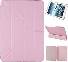 iPad Air 2 Hülle Smart Cover, Asnlove Hülle Schutzhülle Etui Tasche Abdeckung Ledertasche mit Ständer Funktion und Eingebautem Magnet für Apple iPad Air 2 / iPad 6 Tablet Cover, Rose Red
