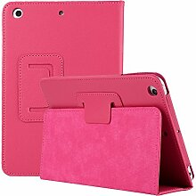 iPad Mini 4 2015 Hülle, elecfan® Ultra Slim Schlau PU Leder Tasche Hülle Etui Schutzhülle Ständer Smart Cover für Apple iPad Mini 4 7.9 Zoll IOS 2015 Genaration Tablet Modellnumber A1538 A1550 - Hot Pink