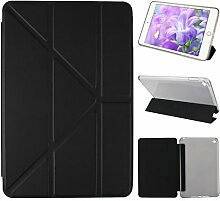 iPad Mini 4 Hülle Smart Cover, Asnlove Hülle Schutzhülle Etui Tasche Abdeckung Ledertasche mit Ständer Funktion und Eingebautem Magnet für Apple iPad mini 4 Tablet Cover, Schwarz