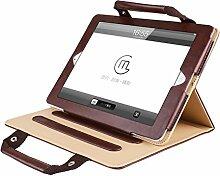 iPad Multifunktional Schutzhülle Handtasche, Miya Schutz Spezieller PU-Material Business Stil Fallmappe Datei Pocket Mit Standfunktion Winkel einstellbar Kartenbeutel Cover(ipad pro12.9,Braun)