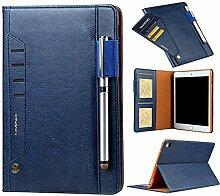 iPad Multifunktional Schutzhülle Tablet Case, Miya Premium PU Leder Smart Stand Slim Cover mit Stiftablage und Wallet Kartensteckplatz Schutz für iPad Business Stil Taschen(mini1/2/3/4,Blau)