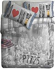 Ipersan Bettbezug  Set mit Platziertem fotografisch Druck  New York  farbe grau/blau 255x240