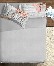 Ipersan Emotionen komplett Foto Fine Art, 100% Baumwolle, Grau/Pink, für französisches Bett, 180x 300x 1cm, 3Einheiten