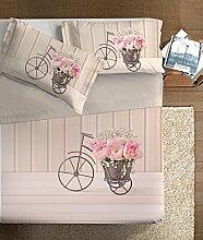Ipersan Foto Vintage Bettwäscheset mit Fotodruck Art, 100% Baumwolle, Beige Hellrosa, Doppelbett, 260x 300x 1cm