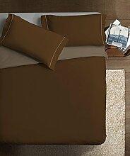 Ipersan Kaffee taupe Bettbezug, 1Einzelbett 1/2, Double Color Kaffee taupe, Baumwolle, Kaffee/Taupe