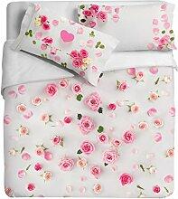 Ipersan Position Blütenblätter Bettbezug Reflektor mit Fotodruck, 100% Baumwolle, Pink, Doppelbett, 255x 240x 0.5cm, 3Einheiten