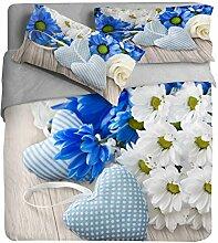 Ipersan Position Daisy Foto Bettbezug mit Fotodruck, 100% Baumwolle, Blau/Weiß, Doppelbett, 255x 240x 0.5cm, 3Einheiten