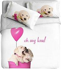 Ipersan Position Funny Dogs asciugapassi, Teppich-Eingang für Außenbereich, Deko, 100% Baumwolle, Pink, Doppelbett, 255x 240x 0.5cm, 3Einheiten
