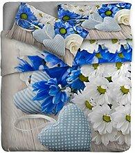 Ipersan Position Gänseblümchen Bettwäsche Reflektor mit Fotodruck, 100% Baumwolle, Blau, Doppelbett, 260x 300x 0.5cm, 3Einheiten
