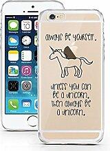 iPhone 6 6S Hülle aus TPU von licaso® Sei ein Einhorn Unicorn Regenbogen Case transparent klare Schutz-hülle iphone6 Tasche Mobile Phone Case Geschenk Druck Frauen Männer (iPhone 6 6S, Sei ein Einhorn)