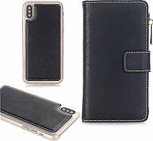 iPhone 6 Plus Handyhülle, TechCode Premium PU Leder Reißverschluss Handytasche [Card Slots] Abnehmbare Abdeckung Schutzhülle für Apple iPhone 6 Plus 5.5 zoll(iPhone 6 Plus,Schwarz)