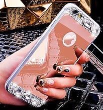 iPhone 6S Plus Hülle,iPhone 6 Plus Hülle,iPhone 6S Plus / 6 Plus Hülle,ikasus® [Bling Glitzer Kristall Strass Diamant Spiegel Hülle] iPhone 6S Plus Silikon Hülle,Glänzend Glitzer Kristall Strass Diamanten Überzug Mirror Spiegel Muster Stoßdämpfend TPU Silikon Schutz Handy Hülle Case Tasche Silikon Crystal Case Schutzhülle Etui Bumper für Apple iPhone 6 Plus / 6S Plus (5,5 Zoll) - Rose Gold