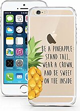 iPhone 7 Hülle aus TPU von licaso® Ananas Prinzessin Crown Krone Case transparent klare Schutz-hülle iphone6 Tasche Mobile Phone Case Geschenk Druck Frauen Männer (iPhone 7, Ananas Prinzessin)
