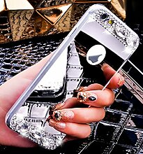 iPhone 8 Plus Hülle,iPhone 7 Plus Hülle,ikasus® [Bling Glitzer Kristall Strass Diamant Spiegel Hülle] iPhone 7 Plus Silikon Hülle,Glänzend Glitzer Kristall Strass Diamanten Überzug Mirror Spiegel Muster Stoßdämpfend TPU Silikon Schutz Handy Hülle Case Tasche Silikon Crystal Case Schutzhülle Etui Bumper für Apple iPhone 8 Plus / 7 Plus - Silber