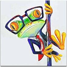 IPLST@ Handgemalte Karikatur-Bild-Pole-Tanzen-Frosch-Ölgemälde-moderne Segeltuch-Kunst-24x24inch (kein Rahmen, ohne Bahre)