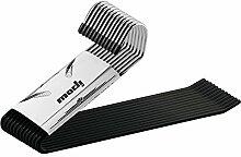 Ipow® 12-Stück Metall Kleiderbügel Antirutsch Hosenbügel, Gabelschlüssel Easy Slide-Organizer, verchromt/schwarz