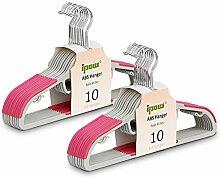 Ipow 20 Stück Kleiderbügel mit Anti-Rutsch Gummierung aus Hochwertigem Kunststoff, Farbe Rosa