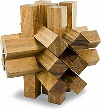 IQ MASTER - Cursed Bricks – Riesen-Knobelspiel - Geschicklichkeitsspiel als originelle Geschenk-Idee für Männer Frauen Kinder – Holzspielzeug für Rätselfans