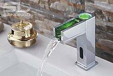 IR Infrarot LED Wasserhahn Armatur Automatik Waschbecken Chrom Kalt- und Warmwasser
