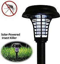 iRegro Solar Insektenkiller Lampe, Solarleuchte Insektenvernichter Insektenschutz, Bug Zapper, Insektenabwehr für draußen Universalschutz