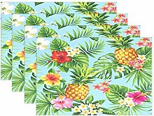 iRoad Tischsets 4er Set Ananas Blume tropische