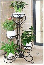 Iron flower racks Blumen-gestell Balkon, Wohnzimmer, Eisen mehrstöckigen Boden Multi-Blume Blumentöpfe Indoor-Pflanze gestell blau Orchidee Blume gestell (Farbe : Schwarz, größe : 49*24*82cm)