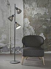 IRON Stehlampe mit 3 Lampen, grau