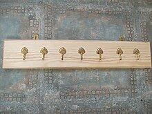 Ironmongery World® 7massivem Messing Haken Kleiderbügel Racks aus Holz/Kiefer Schlüssel Peg Halter Aufhänger