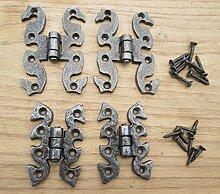 Ironmongery World® Antik Eisen 2Stück Dekorative Traditioneller Gusseisen Küche Schrank Tür Hintern Scharnier (mittel Schmetterling/Schlange)
