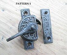 Ironmongery World® Eisen Gusseisen Vintage Old Viktorianisches Design Fenster Fitch Fastener Fenster Lock-Verriegelung