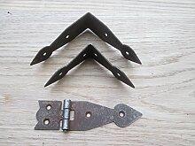 Ironmongery World® Kunstvoller Chest trunk Casket Schrank Schrank Corner Brace Winkel Teller Scharnier (kleinen linienende Ecke Band)