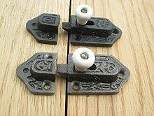 Ironmongery World® Old Vintage Gothic Tudor Gusseisen flach Schiebetür Schrank Vitrine Tür Schrank Bolzenriegel Latch Fang, ANTIQUE IRON & CERAMIC WHITE