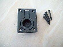 Ironmongery World schwarz Gusseisen Antik Schrank Schublade Ring Pull Flush Griff