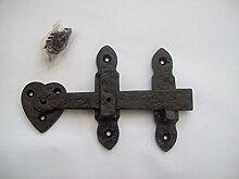 Ironmongery World® Schwarz Gusseisen Antik Suffolk Oberfläche montiert Tor Tür Schrank Kleiderschrank Verriegelung