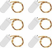 iRoundy 6 Stück 20 Micro LED Drahtlichterkette Batterie-betrieben 6.6FT/2M Silberdraht Warmweiß Wasserdicht Lichterkette für Party Fest Beleuchtungdeko Weihnachtendeko