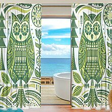 ISAOA Vorhang im Holzblock-Stil, Eulenmotiv,