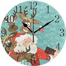 ISAOA Weihnachts-Wanduhr, 23,9 cm, leise, Nicht
