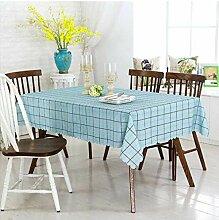 ischdeckenKurve blau karierten Stoff Tischdecke