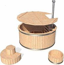 ISIDOR Badezuber Badefass Badetonne Badebottich Pool Outdoor Hot Tub Whirlpool Komplettset mit Deckel und Zubehör optional (Ø190cm mit Treppe)