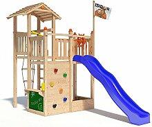 ISIDOR Bugsly Bee Spielturm Kletterturm Baumhaus Rutsche Schaukeln (ohne Schaukelanbau, Blau)