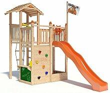 ISIDOR Bugsly Bee Spielturm Kletterturm Baumhaus Rutsche Schaukeln (ohne Schaukelanbau, Orange)