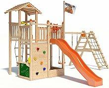 ISIDOR Bugsly Bee Spielturm Kletterturm Baumhaus Rutsche Schaukeln (erweiterter Schaukelanbau, Orange)