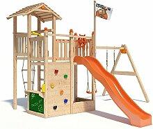 ISIDOR Bugsly Bee Spielturm Kletterturm Baumhaus Rutsche Schaukeln (einfacher Schaukelanbau, Orange)