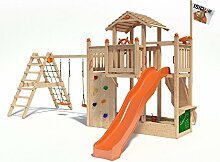 ISIDOR Chummy Spielturm Kletterturm Baumhaus Rutsche Schaukeln (erweiterter Schaukelanbau, Orange)