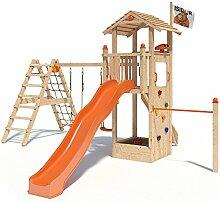 ISIDOR Dori Spielturm Kletterturm Baumhaus Rutsche Schaukeln (erweiterter Schaukelanbau, Orange)