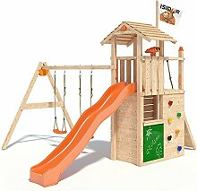ISIDOR Gilligan Spielturm Kletterturm Baumhaus Rutsche Schaukeln (einfacher Schaukelanbau, Orange)