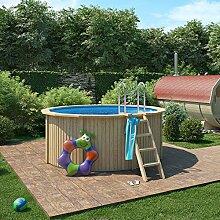 ISIDOR Holzpool Connie, Stahlwandpool inkl. Sandfilter 300x120cm (Ø 300 mit Vollholzleiter) (Ø 300 mit Holz/Edelstahlleiter)